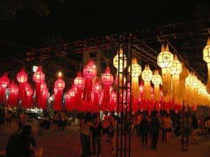 lanterns at Thapae Gate during Loy Krathong festival