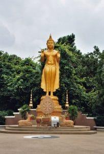 standing golden Buddha at Huay Tung Tao lake