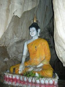 sitting Buddha in cave around Vang Vieng