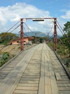 wooden bridge over Nam Song river