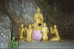Buddha worship statue Phousi hill in Luang Prabang