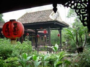 garden view in Museum of Fine Arts in Hue
