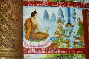 painting with teachings of Buddha in another World Heritage temple in Luang Prabang