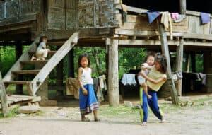 children playing at local village near Luang Prabang