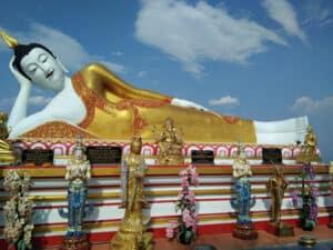 sleeping Buddha at Wat Doi Kham viewpoint over Chiang Mai