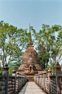 stupa on small island historical site of Sukhothai