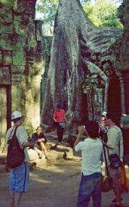 travel guide figurant at Ta Prohm temple