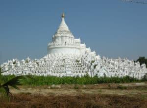 white Hsinbyume pagoda in Mingun