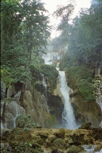 60 meter fall at Kuang Si waterfalls