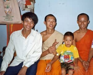 visit to young Buddhist monks room in Battambang