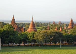 green scenery with temples in Old Bagan