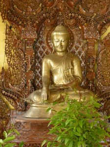 ornamented Golden Buddha Myazedi pagoda Bagan