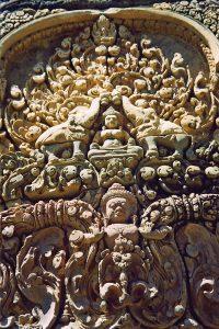 refined sculpture detail at Banteay Srei