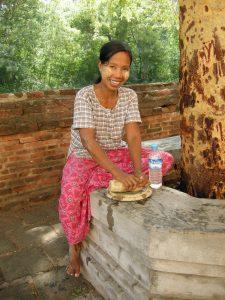 Myanmar lady with tanaka