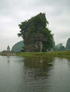 emple and karst cliff Halong on Land at Tam Coc