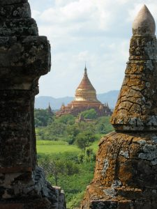 temple view while cycling through Old Bagan
