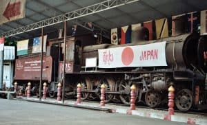 Japanese locomotive near Death Railway Bridge in Kanchanaburi