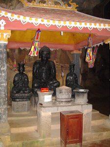 black marble Buddha at Bich Dong pagoda