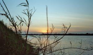 sunset view on Silk Island near Phnom Penh