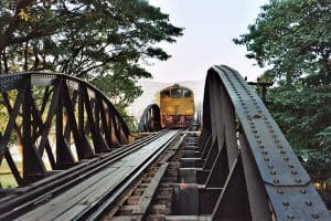 tourist train over the river Kwai in Kanchanaburi