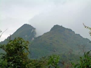 cloudy Fan Si Pan mountain in Sapa