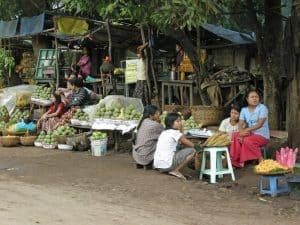 local market near Thai border in Myanmar