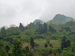 view of Fan Si Pan mountain from Hoang Lien National Park