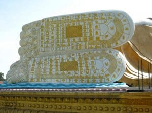 Buddhist lessons in Bago`on`Buddhas feet
