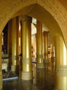 golden pillars in Shwegugale pagoda Bago