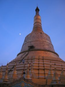 sunset at Shwemawdaw pagoda in Bago