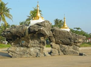 Buddhist twin temples at Ngwe Saung beach