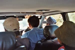 driving to Kampot in a shared taxi