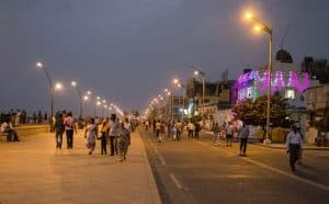 Pondicherry promenada in the evening