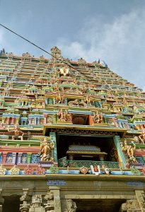 Trichy temple highkights colored temple gates in Srirangam