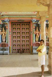 tour guide showing temple door