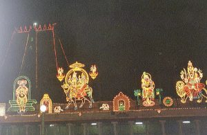 lighted ornaments at Meenakshi temple