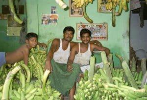 posing at banana market Madurai